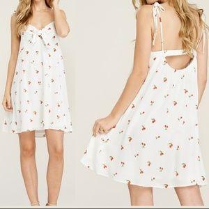 Dresses & Skirts - Tie Neck Cherry Print Tie Strap Shift Dress